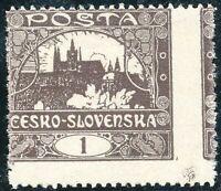 TSCHECHOSLOWAKEI 1919 Hradschin 1 (H) dunkelbraun ungebr. Kab.-Stück, ABART