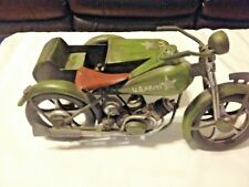 USA Replica Vintage Motorcycle  With Sidecar Model 12 X 6 X 6 1/2 Inches.