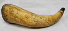 Antique Fine Carved Folk Art Scrimshaw Nautical Themed Powder Horn Mermaid Ships
