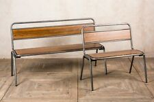 More details for dining bench with back gunmetal restaurant seating backed bench