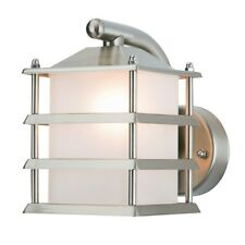 Brushed Stainless Steel Modern Retro Outdoor Security Wall Grill Lantern Light