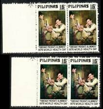 Philippines Errors – 1976 Rizal Against Blindness, Color Varieties, Pairs, MNH