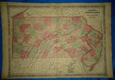 Vintage Civil War Period 1864 Map ~ PENNSYLVANIA - NEW JERSEY ~ Old Authentic