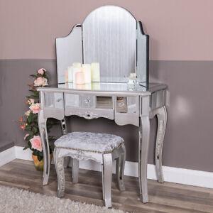 Silver Mirrored Dressing Table Triple Mirror Stool Furniture Set Glass Venetian