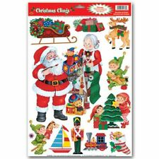 "Santa's Workshop Window Clings Sheet 12"" x 17"" Christmas Decorations Supplies"