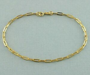 9ct Yellow Gold Paperclip Chain Bracelet 18.5cm / 7.2 inch