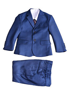 Boys Formal Suits Wedding PageBoy Party Prom 5 Piece Suit 2-12 Years Blue