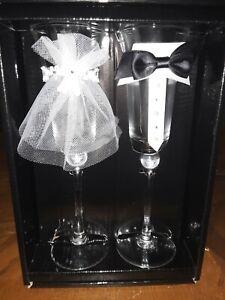 Bride & Groom Champagne Flutes, Wedding Veil Tuxedo Toasting Glasses FREE SHIP!