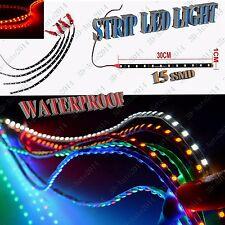 Red  4pcs 30cm 12v 15-SMD LED Car Flexible Waterproof Light Strip