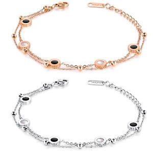 Damen Armband Armkette Rund zweireihige Edelstahl Armschmuck Silber / Rosegold