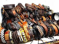 Men's REAL LEATHER surfer handmade Black/Brown fashion cuff bracelets wristbands