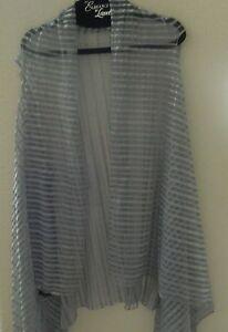 Lavello  Vest-100% Chiffon-stripes-sheer-graphite gray-multiple ways to wear!