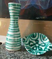 Vintage Gmundner Keramik Austria vase & ashtray green white modernist