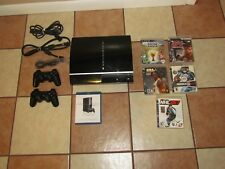 SONY PLAYSTATION 3 CONSOLE BUNDLE LOT WIRELESS CONTROLLERS BLACK CECHL01 5 GAMES