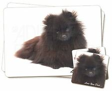 Black Pomeranian 'Love You Dad' Twin 2x Placemats+2x Coasters Set in G, DAD-85PC