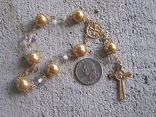 Mexican Chaplet Mini Rosary with Larger Golden Pearly Beads - Mexico