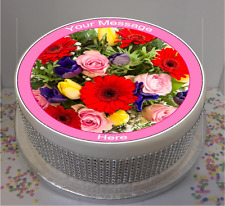 """Personalised Bright Floral 7.5"""" Edible Icing Cake Topper birthday summer flowers"""