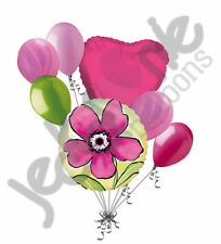 7 pc Painted Pink Flower Balloon Bouquet Party Decoration Birthday Wedding Love
