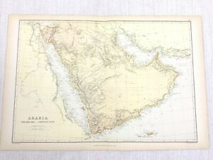 1888 Antique Map of Arabia Persian Gulf The Red Sea 19th Century Blackie & Son