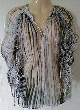 Women's Next White Gold & Black Stripe Sheer ruched Sleeve Top Blouse 14 UK