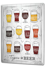 Tin Sign XXL Beer Retro Types of beer Fun Party Room Vintage