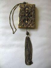Antique Victorian Amber Jewel Filigree Bar Chain Lipstick LARGE Dance Compact