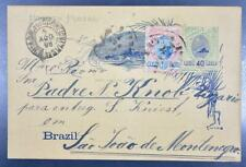 BRAZIL 1898 uprated Postal Card to Padre in Sao Joao de Montenegro Brasilien