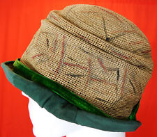 032c94a8865 Vintage Art Deco Hand Painted Woven Natural Straw Green Trim Flapper Cloche  Hat