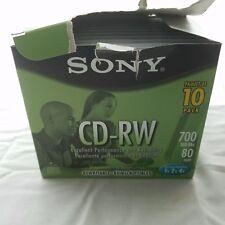 Sony CD-RW Lot Of 10 New Sealed Discs In Original Box 1x2x4x 700 Mb 80 Min