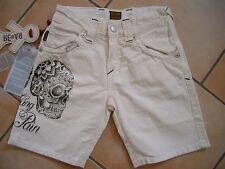 (96) RARE-The Kid Boys Jeans Bermuda Hose mit Totenkopf Druck & Aufnähern gr.116