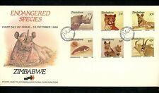 Postal History Zimbabwe FDC #594-599 Endangered Animals wildlife rhino cat 1989