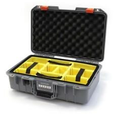 Silver and Orange Pelican 1485 Air case with padded dividers.