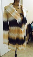 ELAN Striped Hoodie Cream Beige Gray Tribal Cardigan Wool Sweater Tunic Sz S
