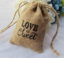"10pc ""LOVE is Sweet"" Natural Hessian Bags Rustic wedding Favor Gift bag 10*15cm"