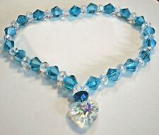 Lake Blue bicone clear crystals heart pet neckwear cat dog necklace U pick size
