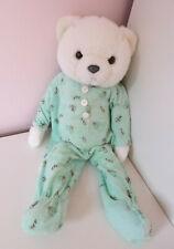 "Vintage Little Snoozems White Teddy Bear Pajamas Blue Romper Soft Plush Toy 18"""