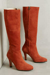 Lenora Womens Delia Suede Heeled Boots Rust 41 Euro (Women US 10) New