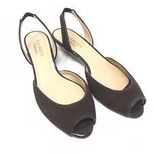 NWOB Talbots Women 8W Wide Slingback Kitten Wedge Heel Peep Toe Brown Leather