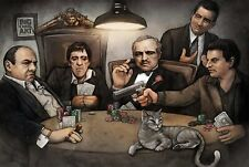 Gangsters Playing Poker Art Poster - Scarface Godfather Goodfellas - 11x17 13x19