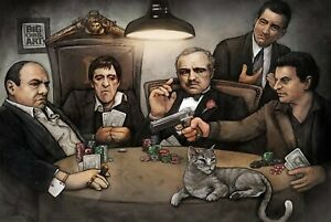 Gangsters Playing Poker Art Poster - Scarface Godfather Goodfellas - NEW - USA