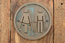 AMBULANT Male and Female, Unisex Toilet Door Sign, Bathroom Bronze Resin plaque