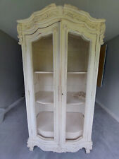 More details for french style armoire, off white with shelving and drawers. wire fronted doors