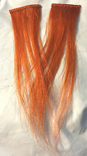 "2pc Human Hair 8"" Rust/Dark Orange 1.75"" width for Weaving/Bonding Add Hilites"