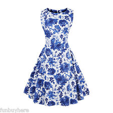 Vintage Style 50's 60s Dress Boat Neck Pin Up Housewife Party Floral Swing Dress