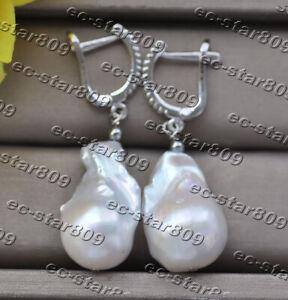 Z11179 25mm White Baroque Reborn Keshi Pearl Dangle Earring CZ