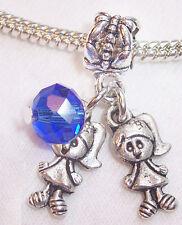 5PCs Twin Girls September Baby Birthstone Crystal Dangle Bead for Charm Bracelet