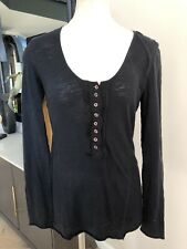 Free People Women Small Black Scoop Neck Henley Long Sleeve Lace Back Top F1