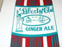"VINTAGE STATUTE OF LIBERTY CLUB GINGER ALE 12"" PORCELAIN METAL SODA POP GAS SIGN"