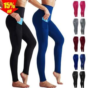 Damen Leggings Tasche Sporthose Laufhose Trainingshosen Fitness Gym Yoga Leggins