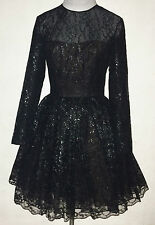 OSCAR DE LA RENTA Black Lace Long Sleeve Dress Petticoat (6) Vintage
